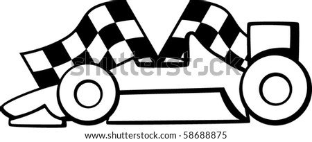 racing car with checkered flags in the background - stock vector