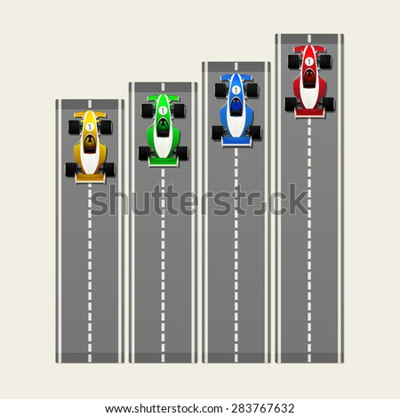 Racing cars on track - stock vector