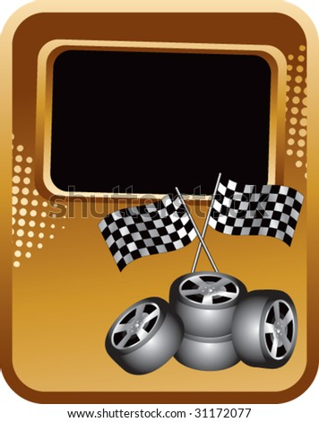 racing checker flags and tires on gold template - stock vector