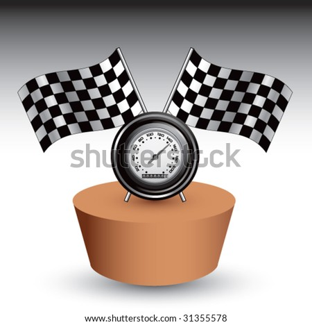 racing checkered flag and speedometer on sand patch