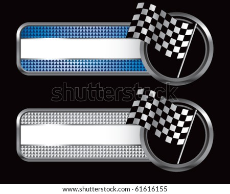 racing checkered flag blue and silver checkered banners - stock vector