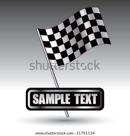 racing checkered flag on nameplate - stock vector