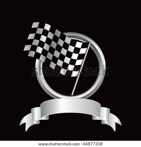 racing checkered flag round silver banner