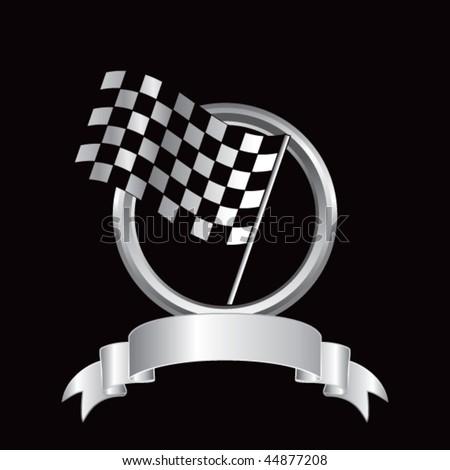 racing checkered flag round silver banner - stock vector