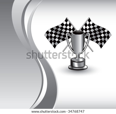 racing checkered flags and trophy on vertical wave background