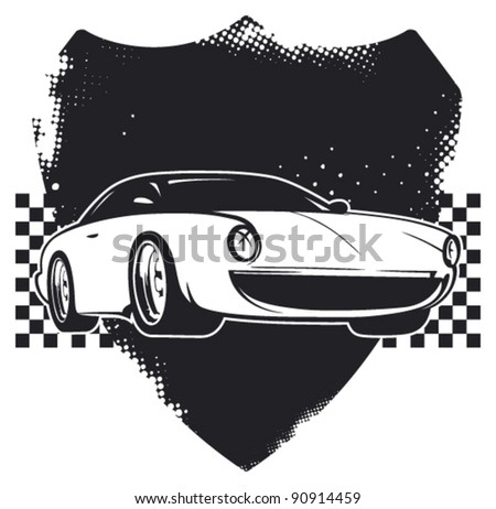 racing classic super car with grunge shield - stock vector