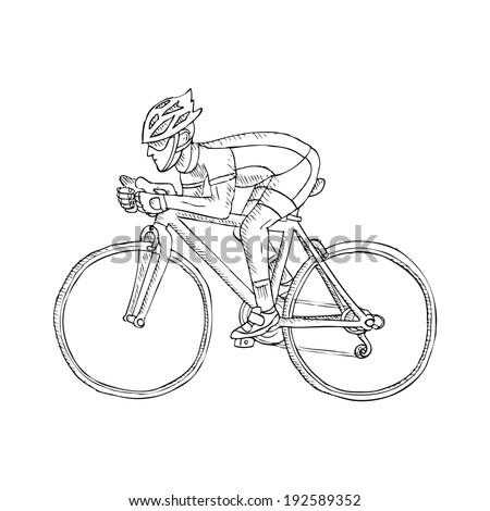 Racing cyclist. Doodle. - stock vector