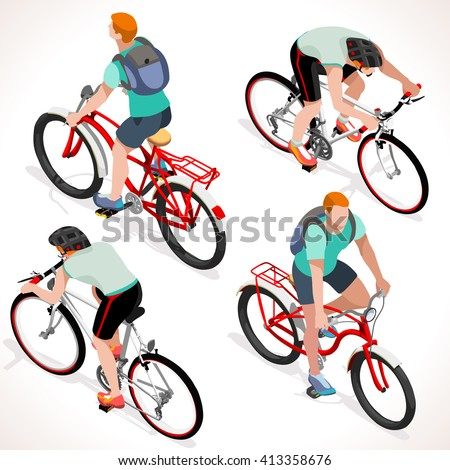Racing cyclist group riding bicycle. Cyclist icon. Flat 3D isometric people set of cyclist and bicycle icons. Isometric Vector Fitness Boy on bicycle. Cycling Group Competition Race Mountain Bike BMX - stock vector