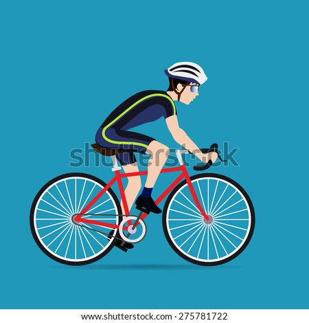 Racing cyclist in action  - stock vector
