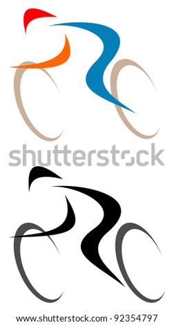 Racing cyclist - isolated vector icon on white. Line art, line work. - stock vector