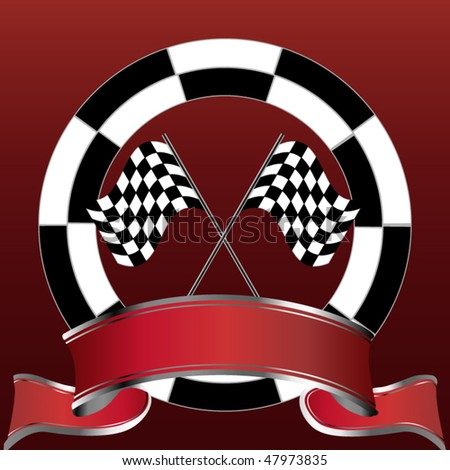 Racing emblem in red with rally flags and banner - stock vector