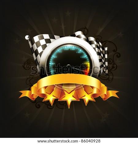 Racing emblem on black, 10eps - stock vector