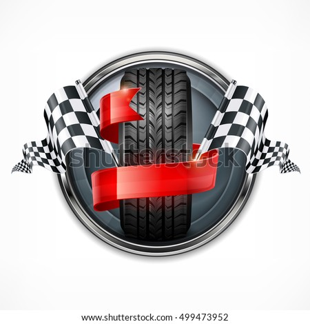 Racing emblem. Rubber wheel. Crossed checkered flags and red ribbon in metallic round on white. Vector illustration