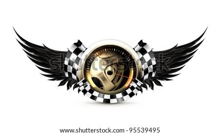 Racing emblem, vector - stock vector