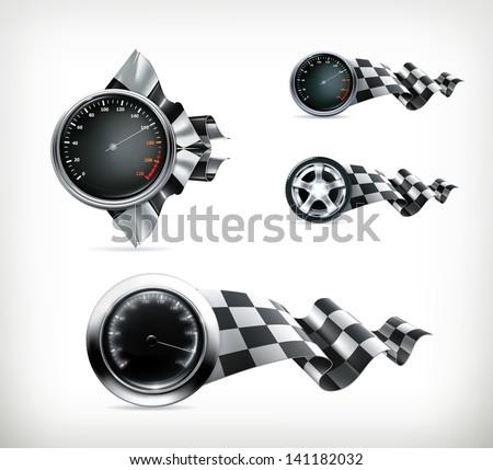 Racing emblems vector - stock vector