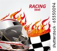 racing flag and helmet with flames of fire - stock photo
