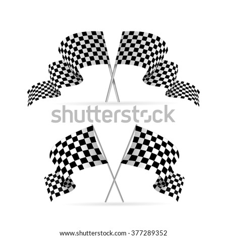 Racing Flag Avto Set. Symbol Of The Competition. Vector illustration - stock vector