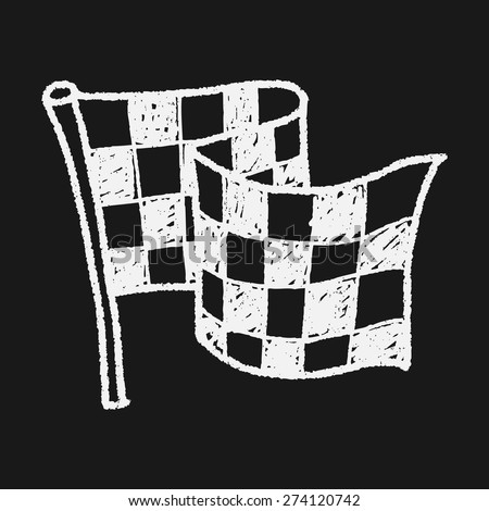 racing flag doodle - stock vector