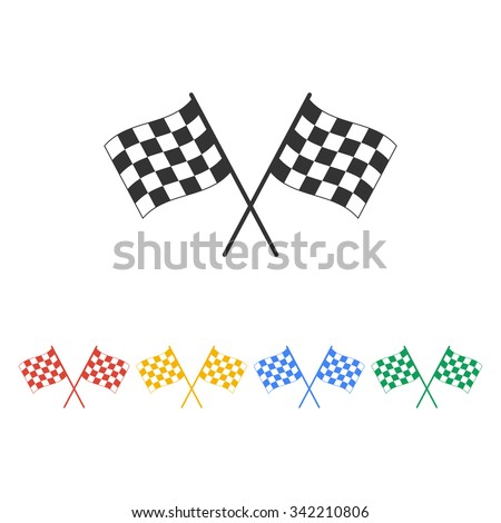 racing flag icon. Flat design style eps 10 - stock vector