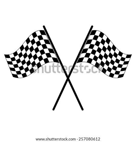 Racing flag vector icon - black illustration - stock vector