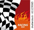 racing flag with flames of fire - stock photo