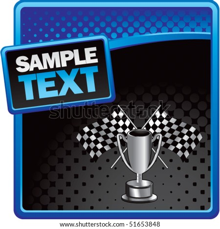 racing flags and trophy blue and black halftone ad - stock vector