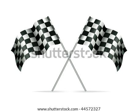 Racing flags, mesh - stock vector