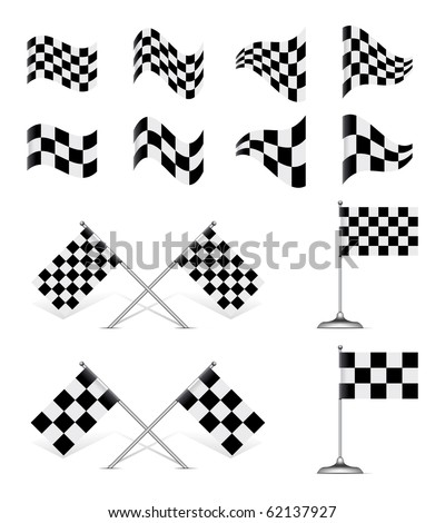 Racing Flags, vector set. Rotating 45 degree - stock vector