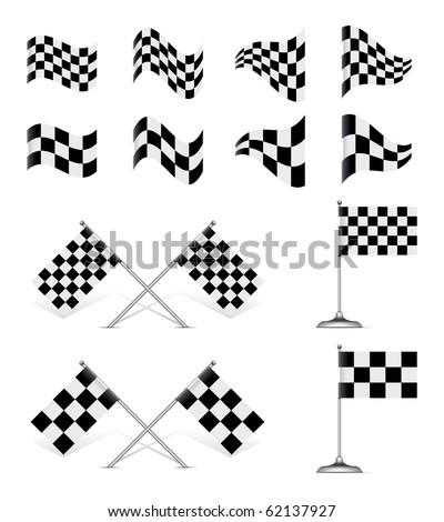 Racing Flags, vector set. Rotating 45 degree - stock vector