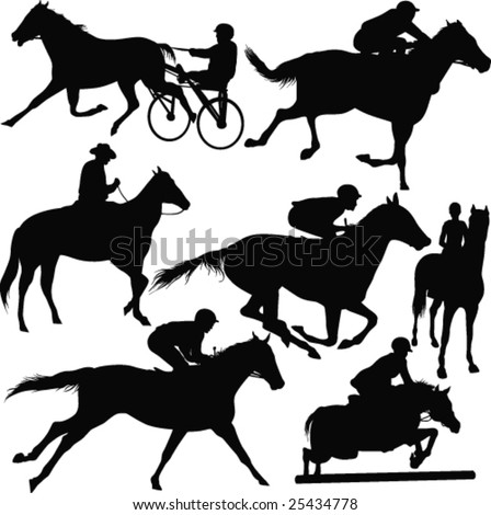 Racing horses-vector - stock vector