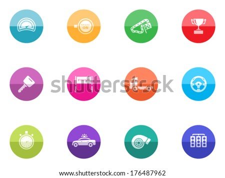 Racing icon series in color circles.  - stock vector