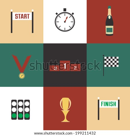 Racing icons vector set / Vector racing objects icon set