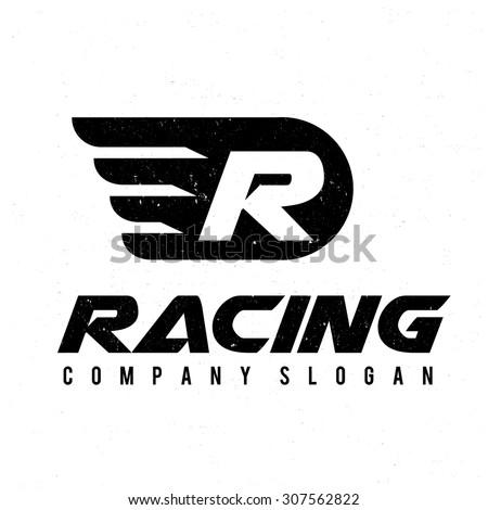 Racing logo,R logo,wing,freedom,speed logo,automotive,car logo,Vector logo template. - stock vector