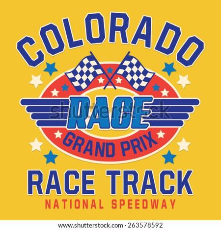 Racing  motor Colorado typography, t-shirt graphics, vectors - stock vector