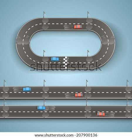 Racing on the road, Circular track road set, Vector illustration - stock vector