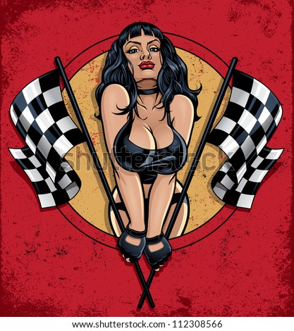 Racing Pinup Holding Checkered Flags. Vector illustration of a sexy pinup girl in a leather bikini popping out of a circle holding two checkered flags on a grunge distressed background - stock vector