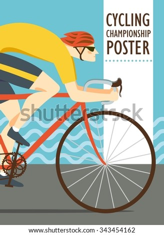 Racing road cyclist in action on sea background. Colorful poster for competition and championship or other cycling event. Editable vector illustration - stock vector