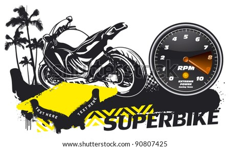 racing scene with super bike and tachometer - stock vector