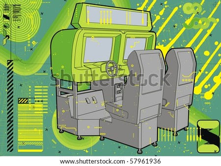Racing simulation arcade in greens. - stock vector