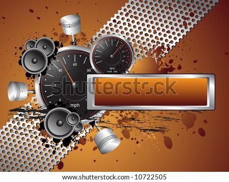 Racing Speed Grunge Text Banner Frame - Vector - stock vector