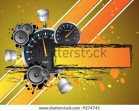 Racing Speed Grunge Text Banner Frame - Vector