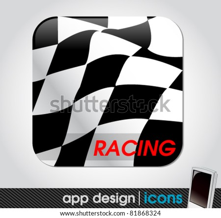 racing sport app icon for mobile devices - stock vector