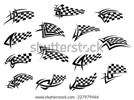 Racing sport checkered flag icons in black and white, for tattoo design, vector illustration isolated on white background - stock vector