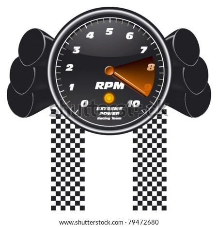 racing tachometer with exhaust - stock vector