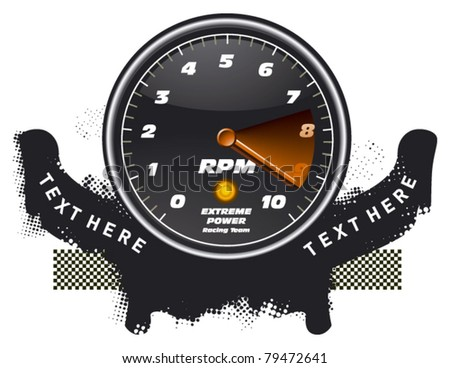 racing tachometer with grunge banner - stock vector