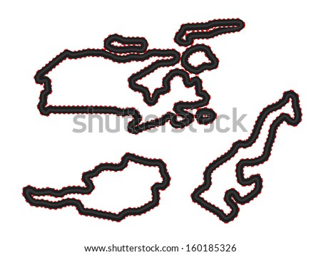 Racing Tracks Maps 4 Canada Austria Monaco - stock vector