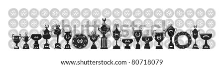 Racing trophy collection-7, gray scale, vector - stock vector