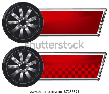 racing wheel with glossy red banner - stock vector