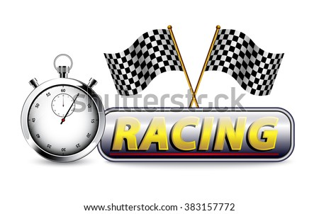 Racing with checkered flag and stopwatch on white
