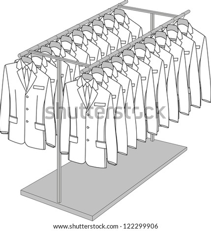Rack with two arms for clothes - stock vector